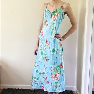 Natori Silky Blue Floral Birds Maxi Slip Dress